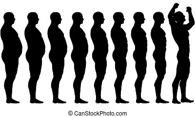 A man diets and exercises from fat to fitness in before and after series