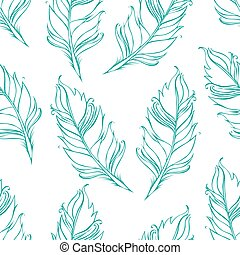 Feather isolated. White background. Seamless pattern. Vector illustration