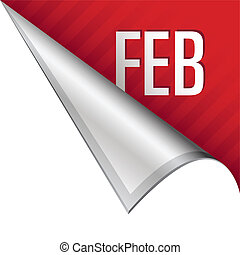 February calendar month icon on vector peeled corner tab suitable for use in print, on websites, or in advertising materials.