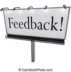 Feedback Word on Billboard Seeking Opinions Comments Input