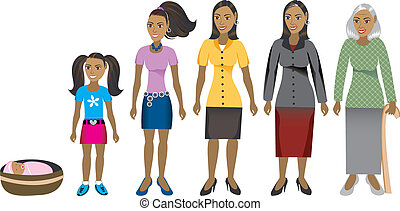 Female age progression, available for males and in different skin tones. Six different ages. Vector Illustration.