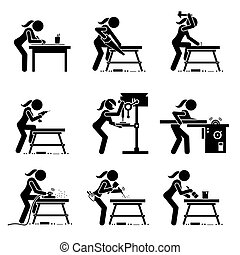 Female carpenter making wooden craft with industrial tools and equipment stick figure icons.