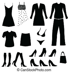 Female clothes, shoes and accessories
