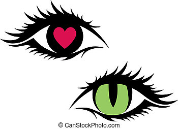 green cat eye and eye with red heart, vector