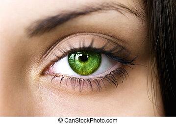 Female green eye close up