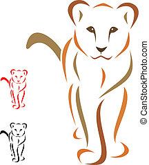 Female lion standing facing - vector