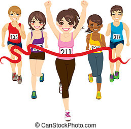 Female runner winning a marathon against other active competitors touching red finish line
