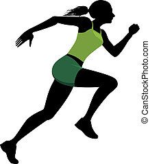 Silhouette of a running woman, vector illustration