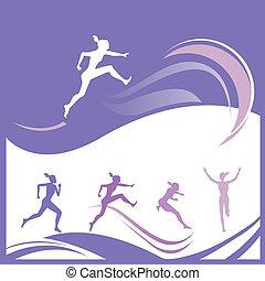 Female runner silhouettes