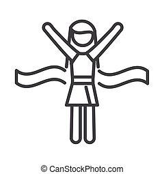 female runner winner running sport race line icon design