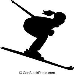 Female skier silhouette downhill