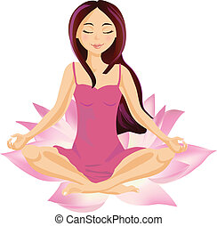 Girl sitting in a lotus relaxing and meditating, vector illustration