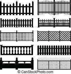 A set of fences and wall brick design.