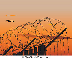 Vector illustration of metallic fence topped with barbed wire against sunset sky