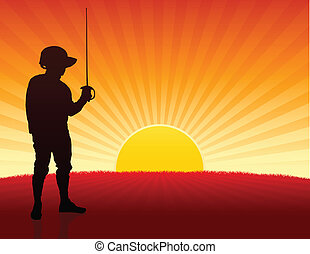 Fencer on Sunset Background