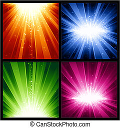 description: 4 different light bursts with magic stars in 4 interchangeable color schemes of 7 global color swatches each. Artwork grouped and layered.