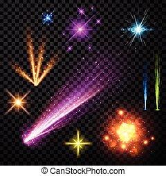 Festive color firework set.