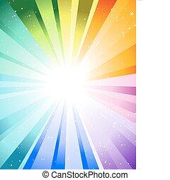 Festive rays with many stars. Vector illustration.