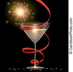 festive glass and sparkler