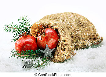 Festive pomegranates still life