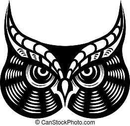 Cartoon vector illustration in black and white of the face of a fierce looking horned owl