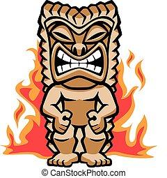 Illustration of a strong tiki warrior amongst burning flames