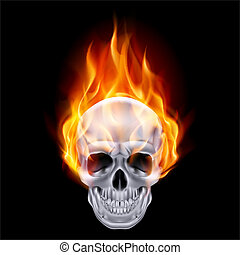 Illustration of chrome fire skull on black background.