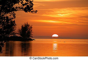 Photographed sunset from out campsite Fiesta Key, Florida. Resubmiited after adding more keywords