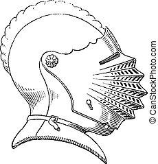 Fifteenth century helmet or galea vintage engraving. Old engraved illustration of helmet worn during the fifteenth century.