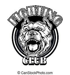 Fight club emblem with bulldog