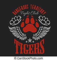 Fighting club emblem - tiger footprint and wings. Labels, badges, logos.