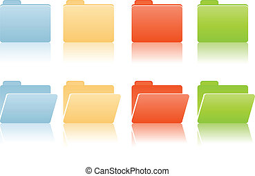 file folders with place for label in blue, red, yellow, green color tones
