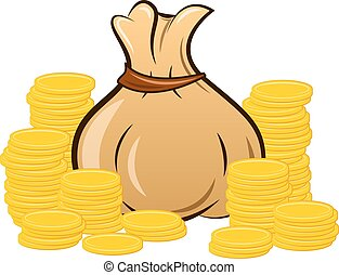 filled money bag on white background