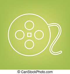 FIlm line icon on green background