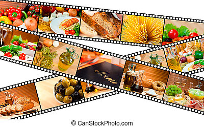 A film strip montage macro photographs of fresh gourmet food and a menu with pasta bread salad olives cheese ham melon spaghetti vegetables oil & Balsamic vinegar