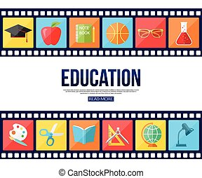 Film strips and set of flat school education icons for infographics, presentation templates.