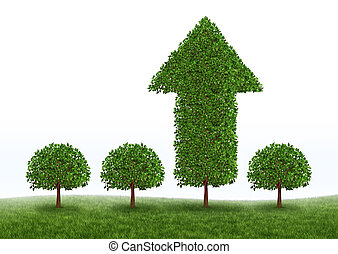 Financial growth and business success with the best investment choices from professional financial advice for picking the right equity stocks to invest in for retirement as green trees but one money tree in the shape of an arrow succeeds in high growth on white.