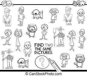 Black and White Cartoon Illustration of Find Identical Pair of Images Educational Activity for Children Coloring Page