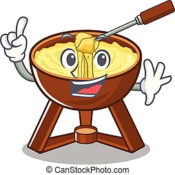 Finger fondue cheese in a cartoon plate