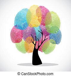 Diversity color tree finger prints illustration background set. Vector file layered for easy manipulation and custom coloring.
