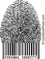 personal identity, fingerprint with bar code, vector