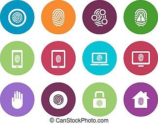 Fingerprint circle icons on white background.