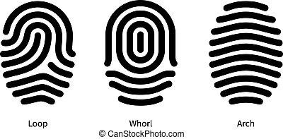 Fingerprint id types on white background. Vector illustration.