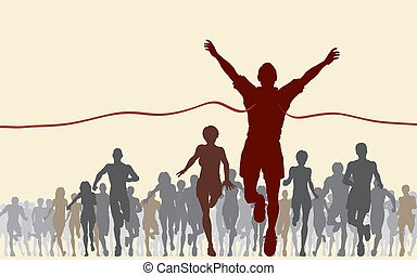 Editable vector illustration of a man winning a race
