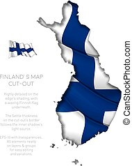 Finland Map Cut-Out with Waving Flag