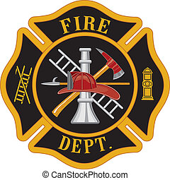 Fire department or firefighter%u2019s Maltese cross symbol illustration. The five color vector eps version can be easily edited or separated for print or screen print and each major element is on a separate layer for your convenience.