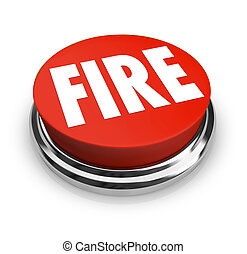 Fire Word on Round Red Button