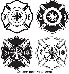 Illustration of four version of the firefighter cross symbol in one color. Vector format is easily edited or separated for print and screen print.
