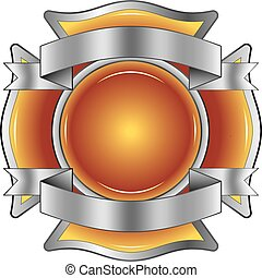 Illustration of a firefighter Maltese cross made of gemstone with silver ribbons at the top and bottom. Contains gradient mesh.