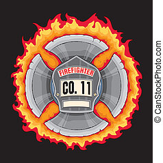 Illustration of a black leather firefighter helmet or fireman hat shield in a flaming maltese cross made with axe blades. Vector format is easily edited or separated for print and screen print.